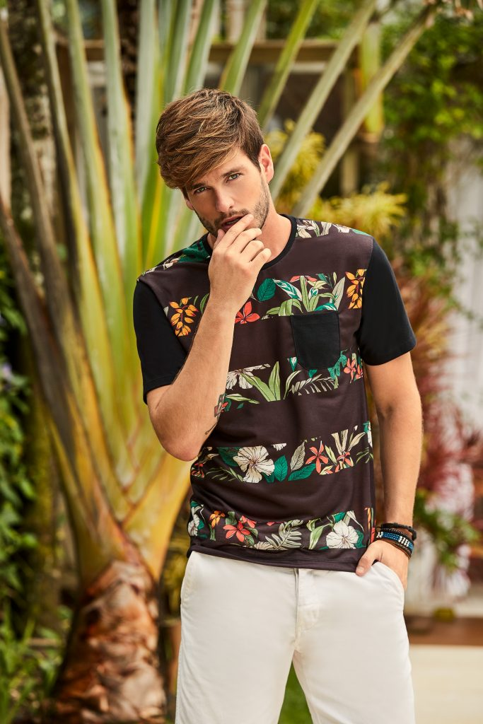 blusa masculina estampa floral