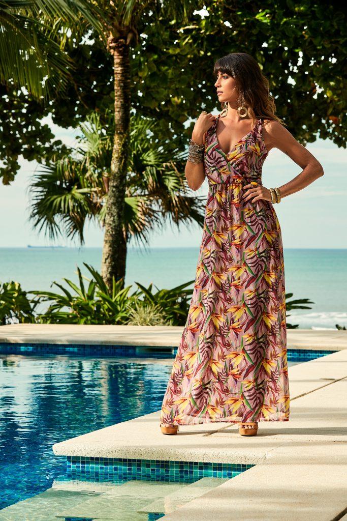 vestido longo estampado tendência de moda para primavera