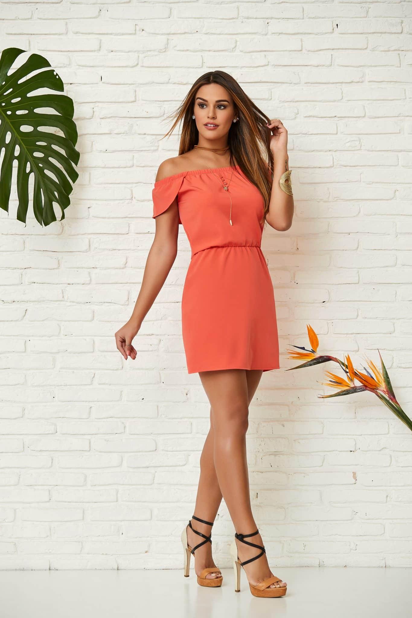 vestido laranja tomara que caia